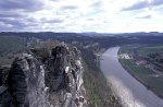 Bastei mit Blick auf die Elbe & Rathen / Bastian and view on the Elbe river